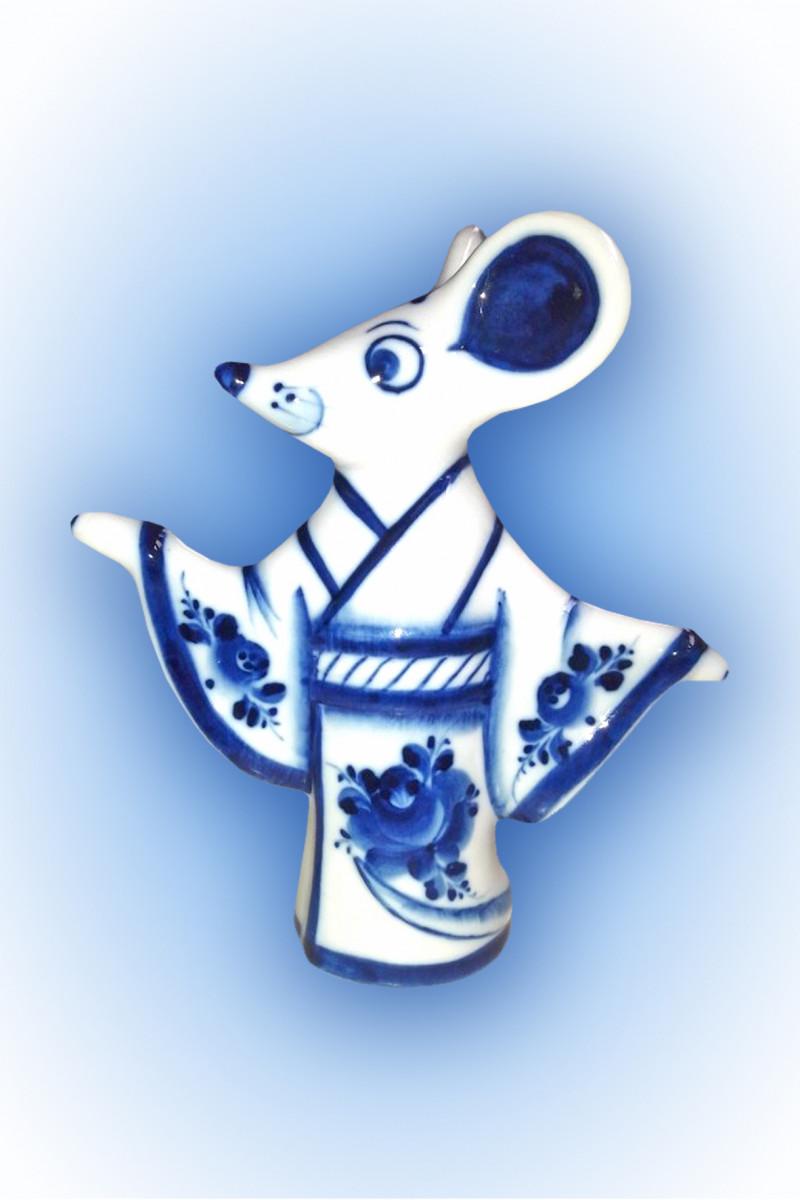 Скульптура «Мышь в кимоно» золото